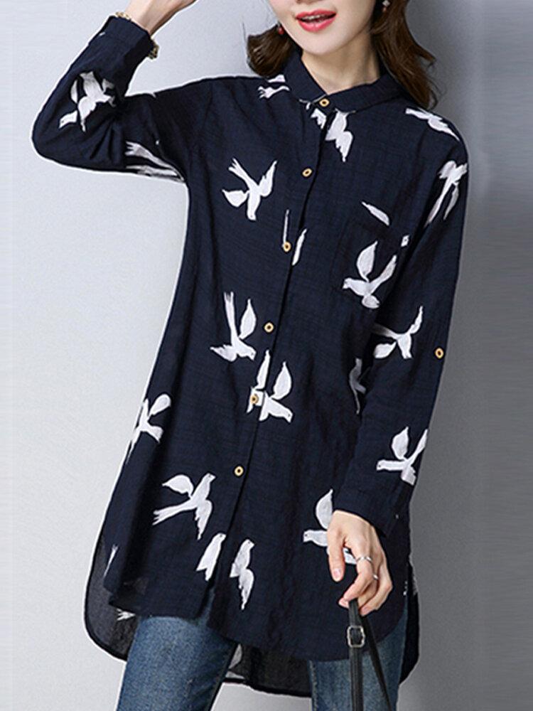 Print Turn-down Collar Buttons Long Sleeve Shirt For Women