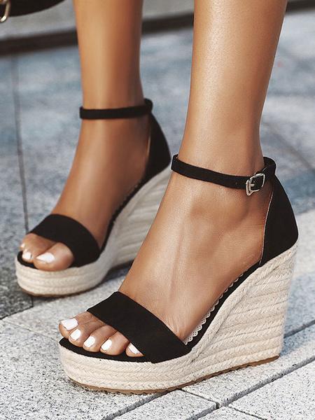 Milanoo Black Espadrilles Women's Wedge Sandals Platform Heels Sandals Open Toe Buckle Detail Ankle Strap Shoes
