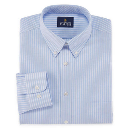 Stafford Mens Wrinkle Free Oxford Button Down Collar Big and Tall Dress Shirt, 18.5 36-37, Blue