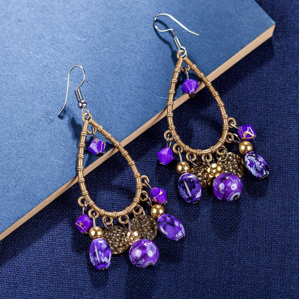 Bohemian Tassels Drop Earrings Long Style Turquoise Earrings Retro Women Drop Earrings