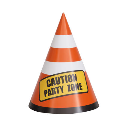 Construction Party Hats, 8ct For Birthday Party