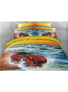 Vivilinen 3D Red Sports Car on the Beach Printed 4-Piece Bedding Sets/Duvet Covers