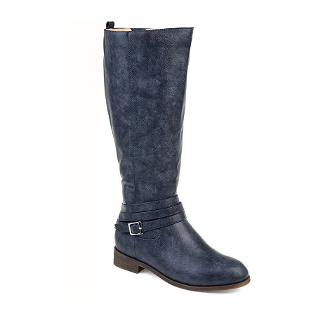 Journee Collection Womens Ivie Wide Calf Stacked Heel Zip Riding Boots, 11 Wide, Blue