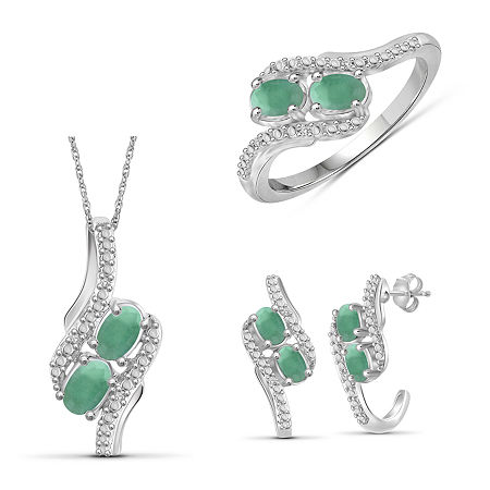 Diamond Accent Genuine Green Emerald Sterling Silver 3-pc. Jewelry Set, 7 , No Color Family
