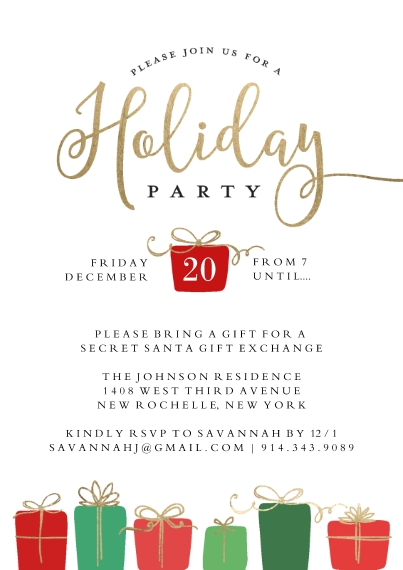 Christmas & Holiday Party Invitations 5x7 Cards, Standard Cardstock 85lb, Card & Stationery -Holiday Invite Gifts