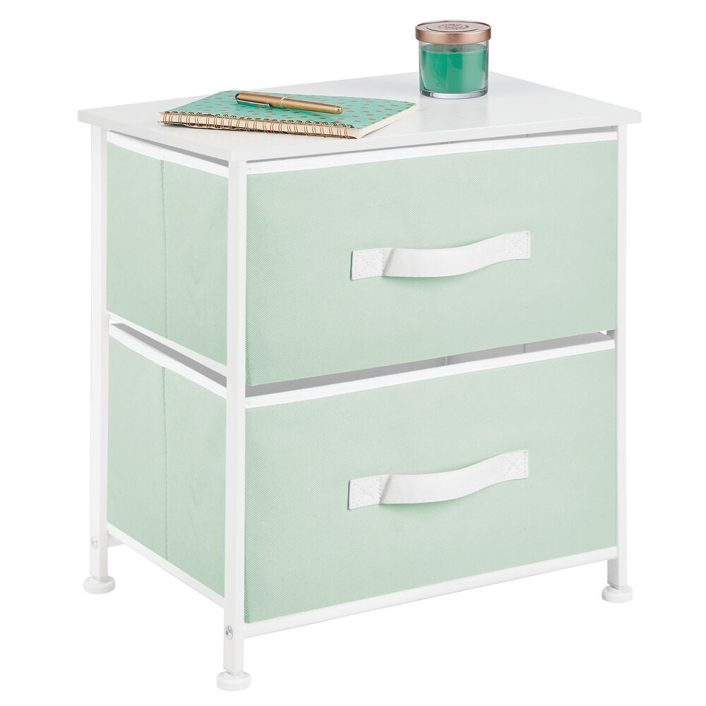 mDesign 2 Drawer Side Table with White Accents in Mint Green/White, 12