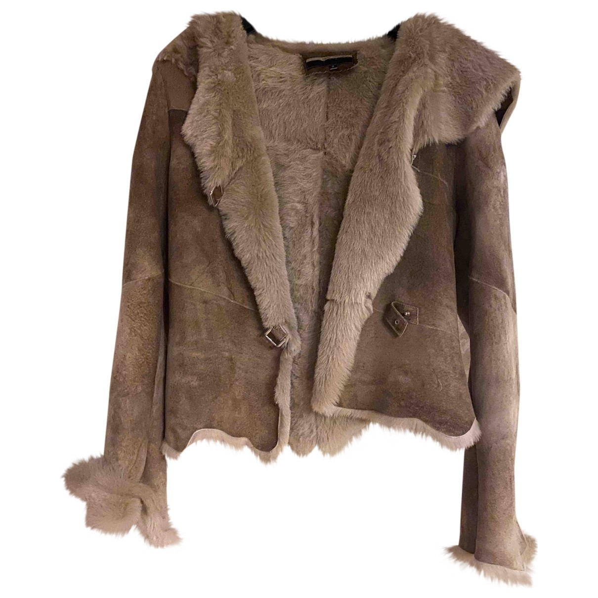 Ventcouvert \N Camel Rabbit Leather jacket for Women 1 0-5