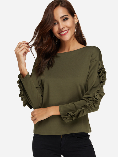 Yoins Army Green Flounced Details Round Neck Long Sleeves T-shirts
