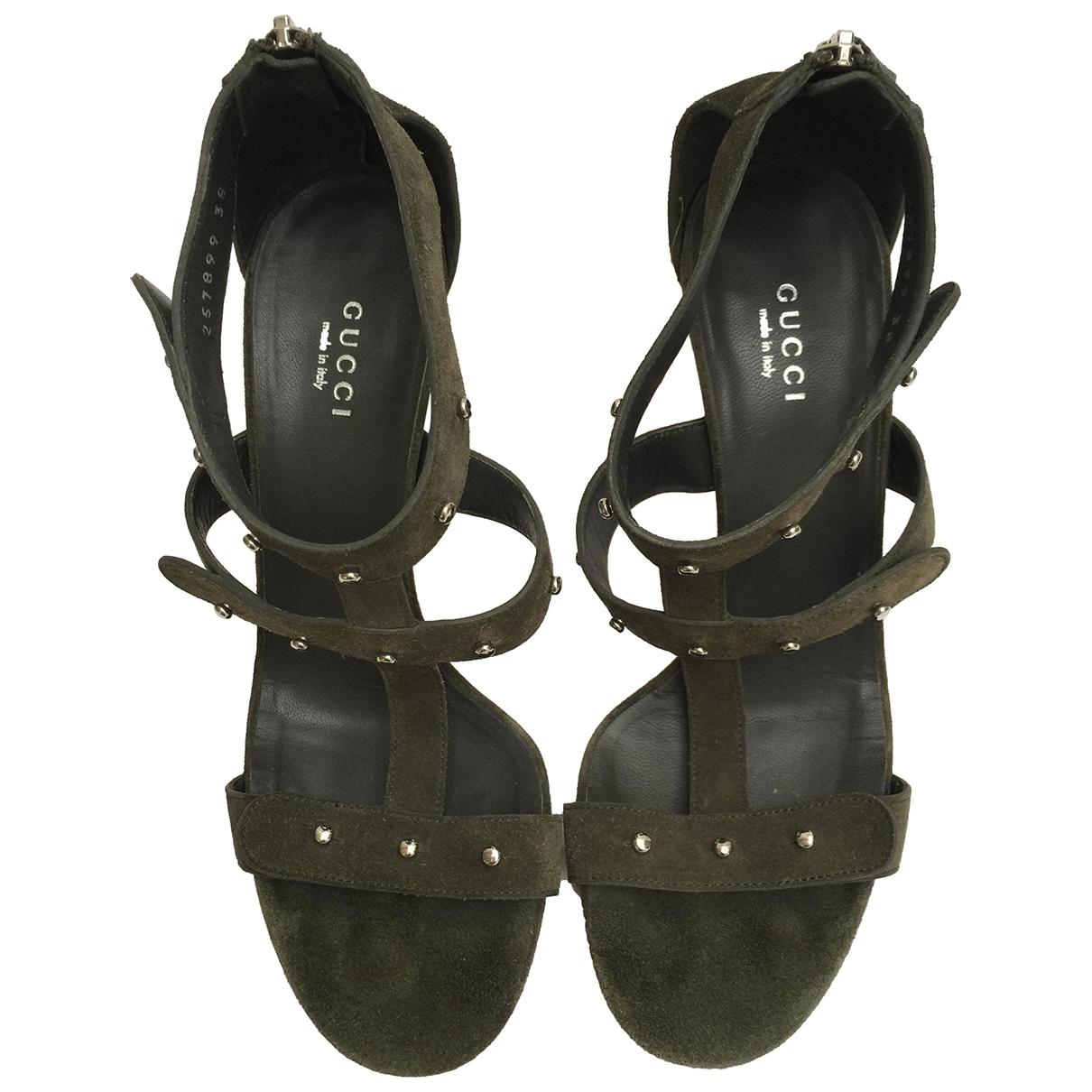 Gucci \N Khaki Suede Sandals for Women 38 EU