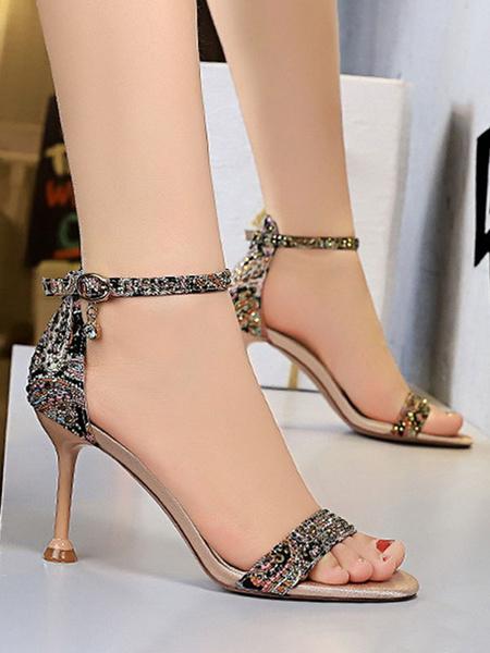 Milanoo High Heel Sandals Womens Rhinestones Open Toe Ankle Strap High Heel Sandals