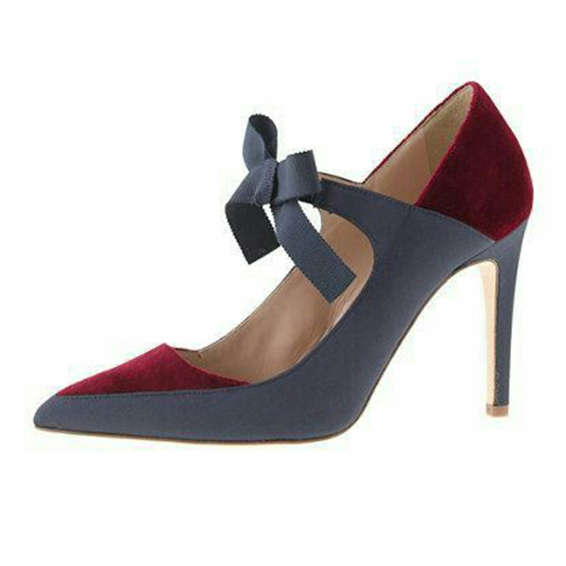 Ericdress Bowtie Pointed Toe Stiletto Heel Women's Pumps