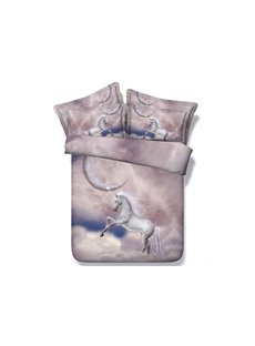 3D White Unicorn and the Moon Printed 5-Piece Comforter Sets