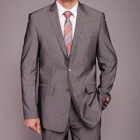 2 Button Gray Nailhead  Slim fit Suit Mens Cheap
