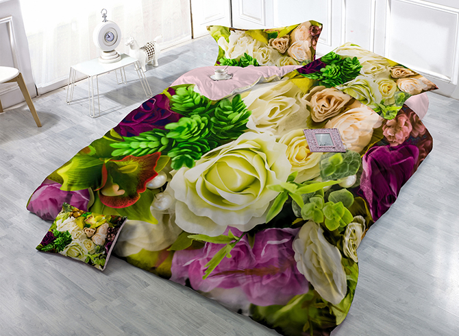Pastoral Romantic Flowers Wear-resistant Breathable High Quality 60s Cotton 4-Piece 3D Bedding Sets