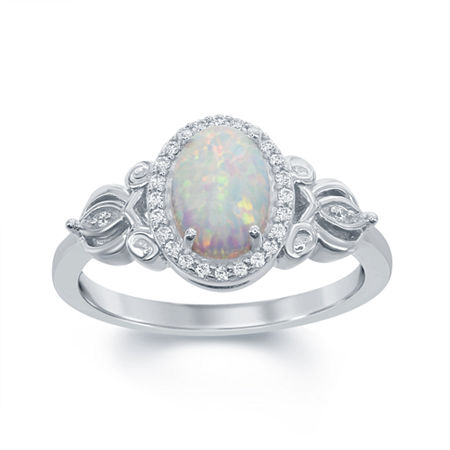 Enchanted Disney Fine Jewelry 1/10 CT. T.W. Diamond & Lab-Created Opal Sterling Silver Cocktail Ring, 7 , No Color Family
