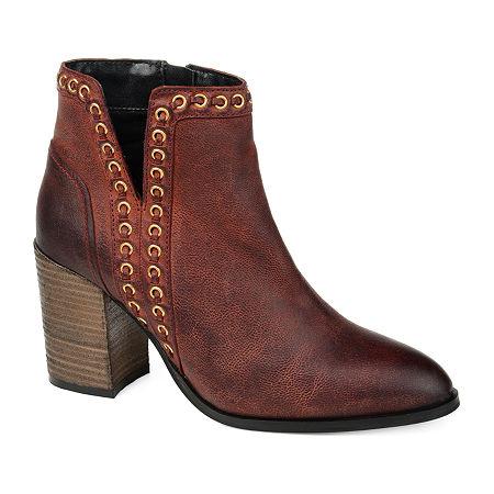 Journee Signature Womens Jorri Booties Stacked Heel, 9 Medium, Red