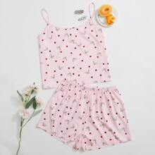 Plus Swan And Heart Print Pajama Set