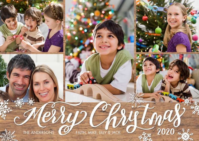 Christmas Photo Cards Flat Glossy Photo Paper Cards with Envelopes, 5x7, Card & Stationery -2020 Christmas Snowflakes by Tumbalina