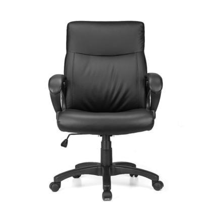 chaise de bureau Fauteuil de direction, dossier mi-dos, cuir reconstitu e, noir Moustache@