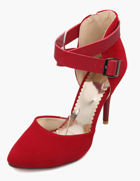 Milanoo Red And Blue Stiletto Heel Micro Leather Riverts Ankle Strap Pointed Toe Women's High Heels