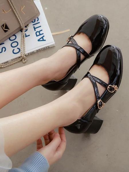 Milanoo Classic Lolita Pump Buckle Starlet Strappy Chunky Heel Lolita Shoes