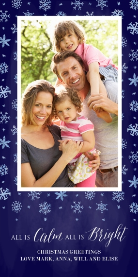 Christmas Photo Cards Flat Glossy Photo Paper Cards with Envelopes, 4x8, Card & Stationery -A Blanket of Snow - Dark Blue