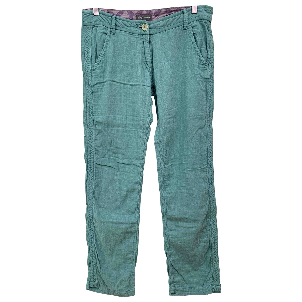 Zadig & Voltaire \N Green Cotton Trousers for Women M International
