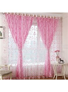 Decoration Fresh Style Flower Printing Shading Cloth and Sheer Curtain Sets