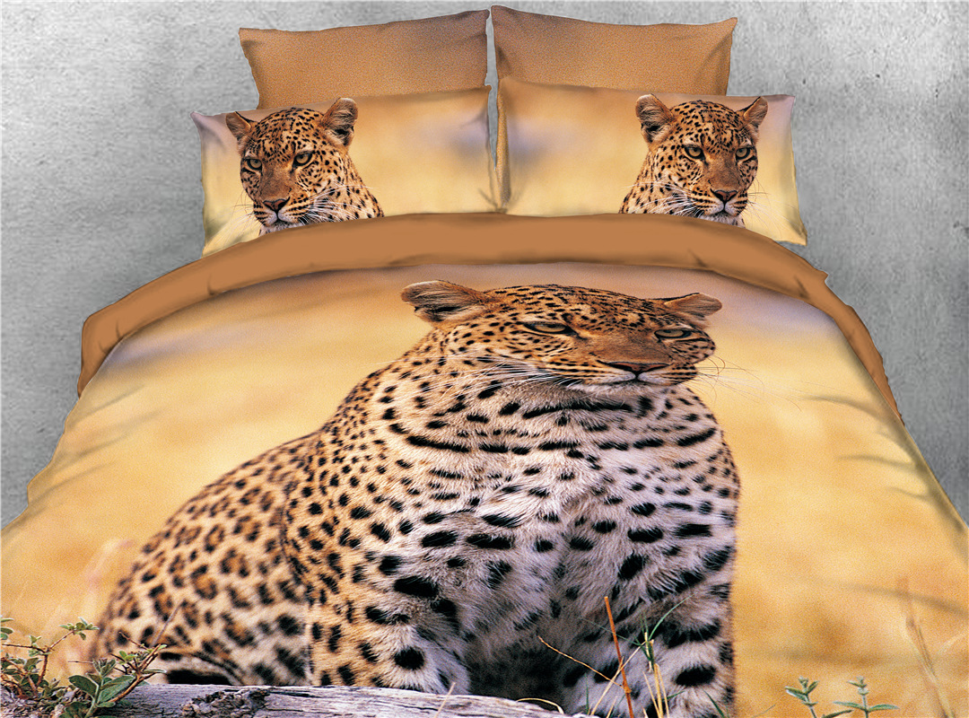 Wild African Leopard Printed 4-Piece 3D Animal Bedding Sets/Duvet Covers