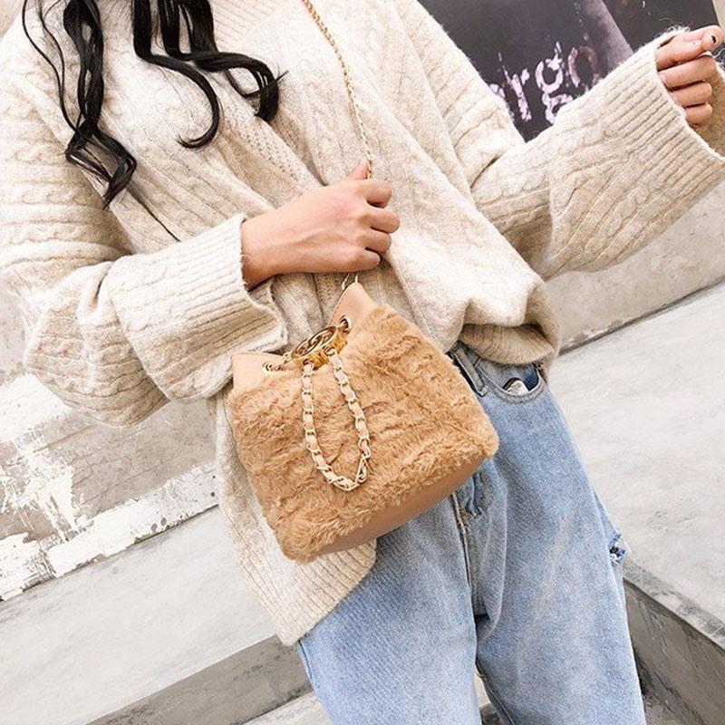 Ericdress Plain Faux Fur Barrel-Shaped Crossbody Bags
