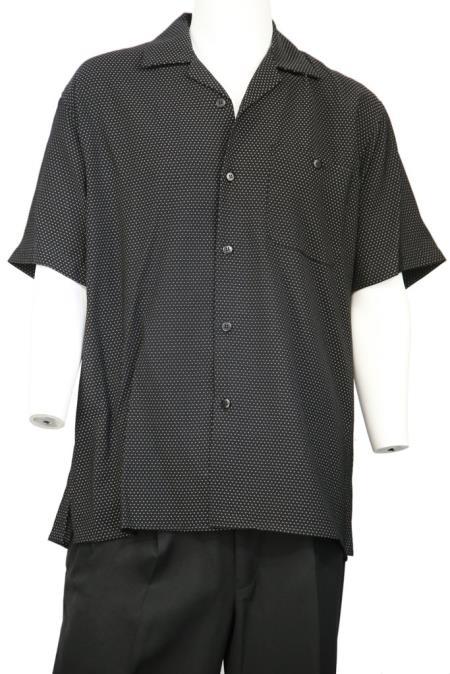 Mens Polka Dots Short Sleeve Button Fastening Walking Suit