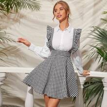Ruffle Strap Gingham Suspender Dress
