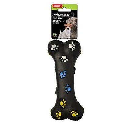 Vinyl Bone Paws Print Dog Chew Toy with Squeaker