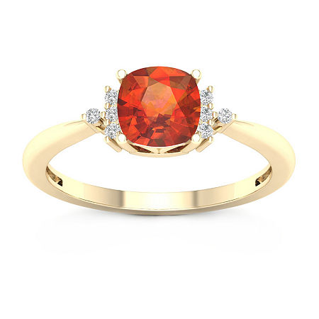 Womens Diamond Accent Genuine Yellow Citrine 10K Gold Cocktail Ring, 9 , No Color Family