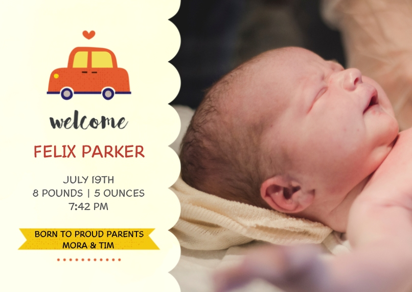 Baby Announcements 5x7 Cards, Premium Cardstock 120lb with Scalloped Corners, Card & Stationery -Precious Cargo