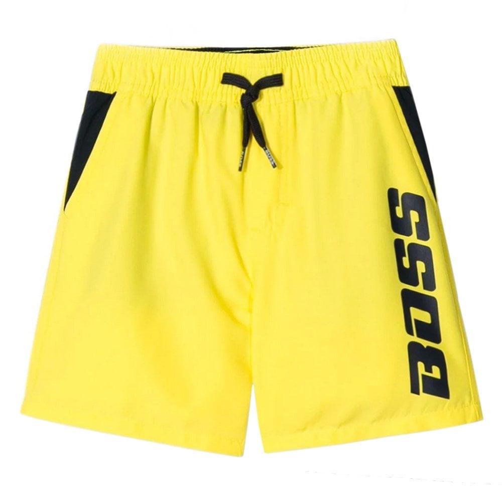 Hugo Boss Kids Yellow Logo Swimshorts Colour: YELLOW, Size: 10 YEARS