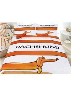 Cartoon Dachshund 3-Piece 3D Animal Printed Bedding Sets/Duvet Cover Sets