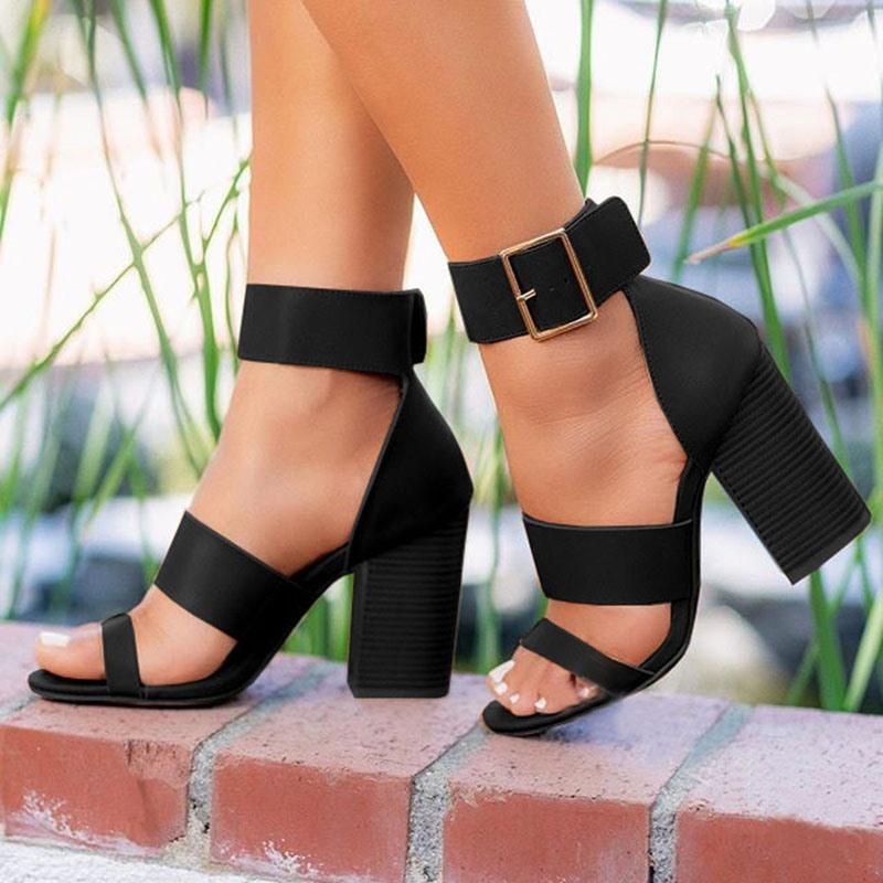 Ericdress Chunky Heel Buckle Heel Covering Women's Sandals