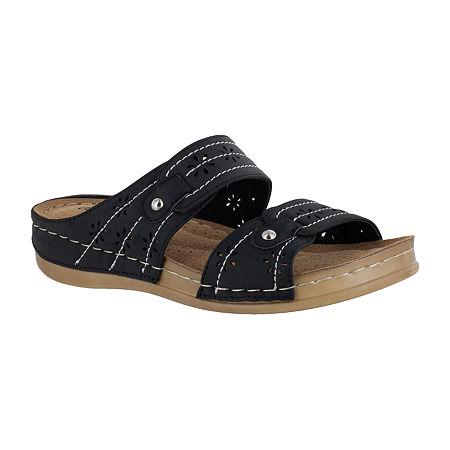 Easy Street Womens Slide Sandals, 7 1/2 Medium, Black