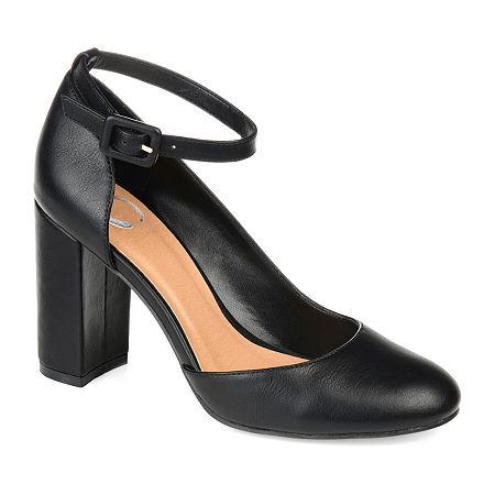 Journee Collection Womens Raveen Buckle Round Toe Block Heel Pumps, 12 Medium, Black