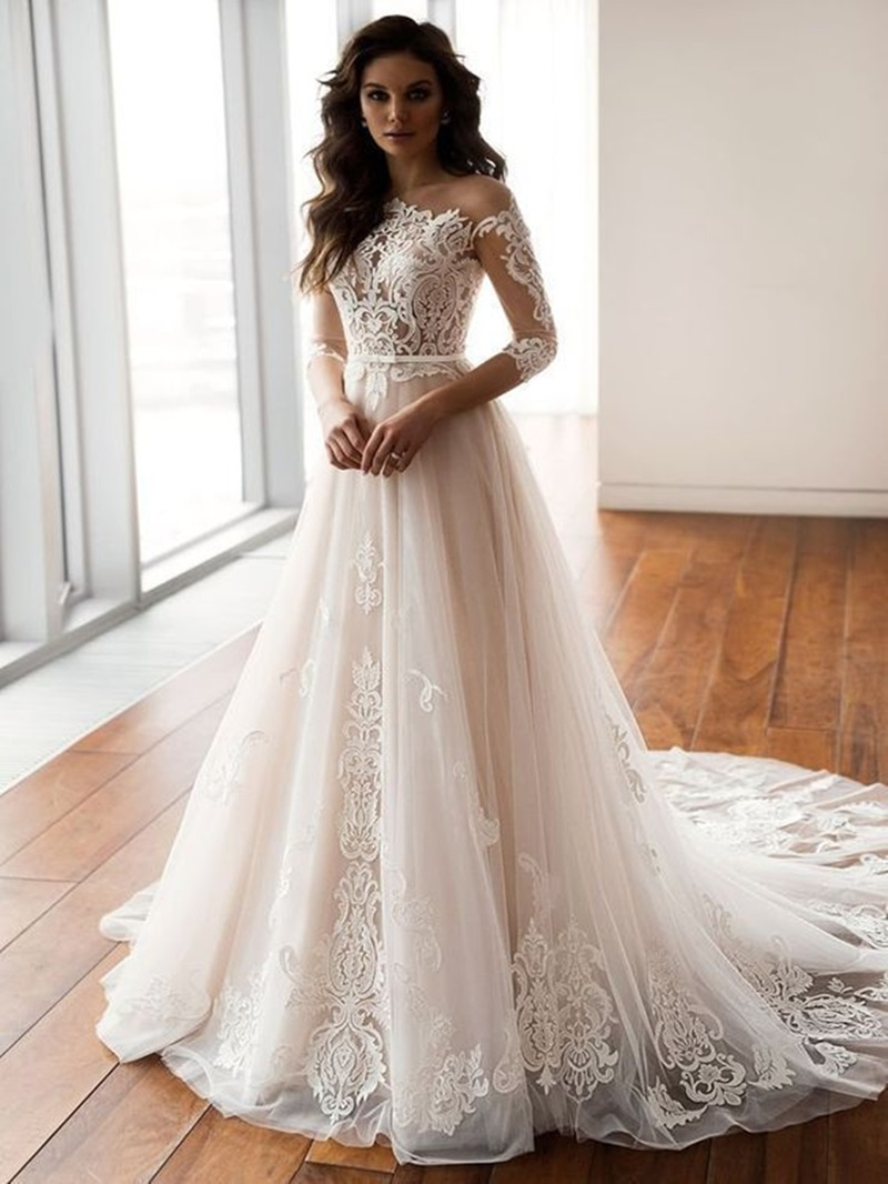 Ericdress Lace A-Line 3/4 Length Sleeves Church Wedding Dress 2020