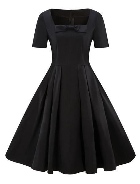 Milanoo Women Vintage Dress Short Sleeve Bows Square Neck Retro Swing Summer Dress