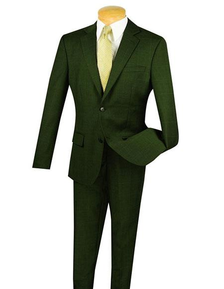 Olive Fortini 1Wool 2Button Window Pane Plaid SlimFit Suit Side Vented