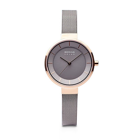 Bering Slim Solar Womens Two Tone Stainless Steel Bracelet Watch-14631-369, One Size , No Color Family
