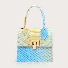 Mini Gradient Snakeskin Print Satchel Bag