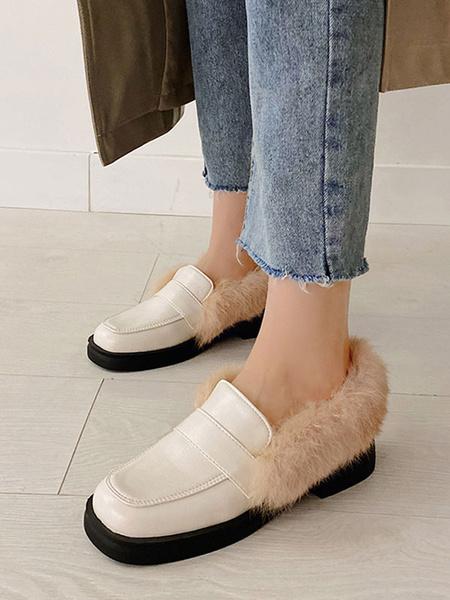 Milanoo Women Loafers Black Round Toe Casual PU Leather Artificial Short Plush Women\'s Shoes