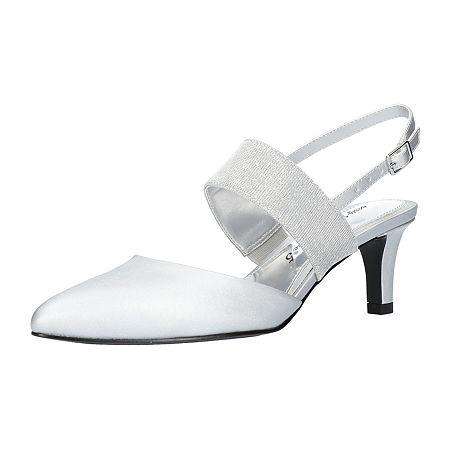 Easy Street Womens Gisella Pumps Spike Heel, 7 1/2 Wide, Silver