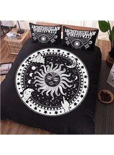 Black Sun Designs And Symbols Soft Modern 4-Piece Washable Polyester Bedding Sets/Duvet Cover
