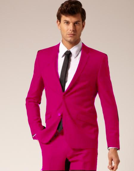 Mens 2 Button Style Wool and Cotton Suit Flat Front Pants Fuschia