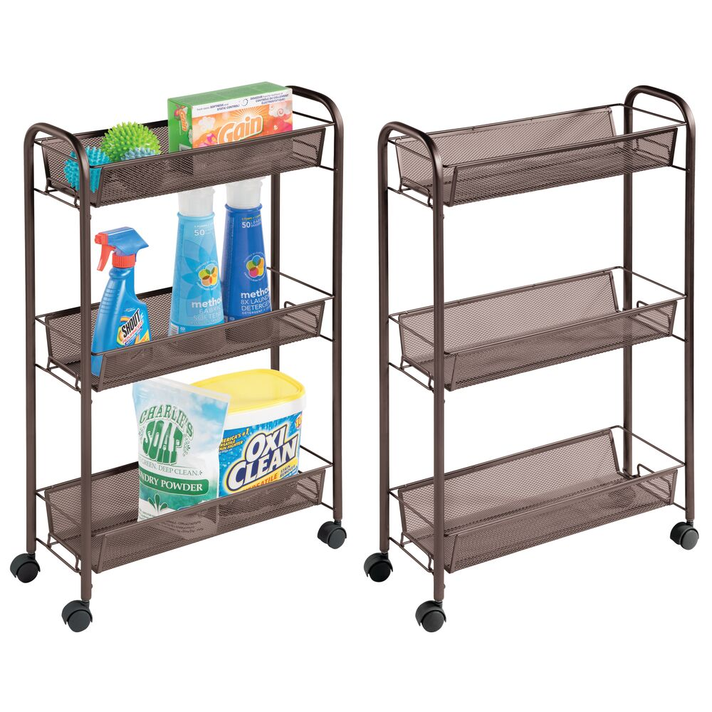 3 Tier Rolling Laundry Cart with Mesh Baskets - Pack of in Bronze, 17.25